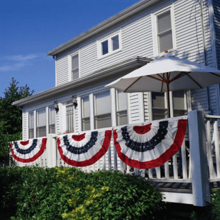 Patriotic Bunting 2-Sided Pleated Flag