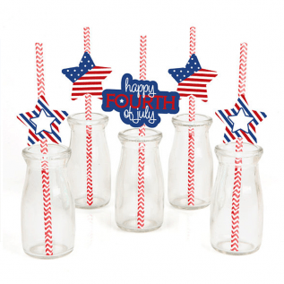 Fourth of July Themed Party Die-Cut and Straw Decorations