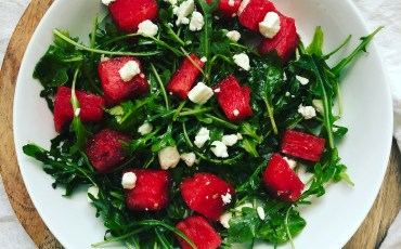 Watermelon Arugula Feta Salad with Honey Garlic Vinaigrette