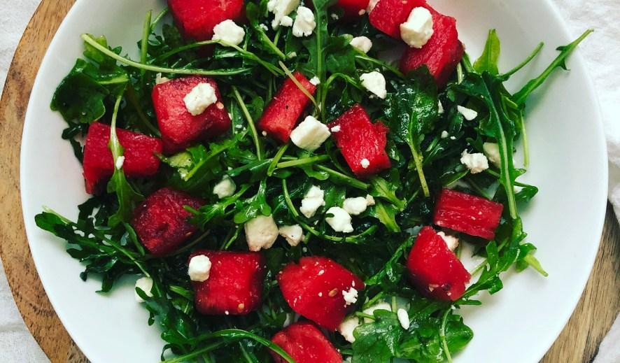 Watermelon Arugula Feta Salad with Honey Garlic Vinaigrette
