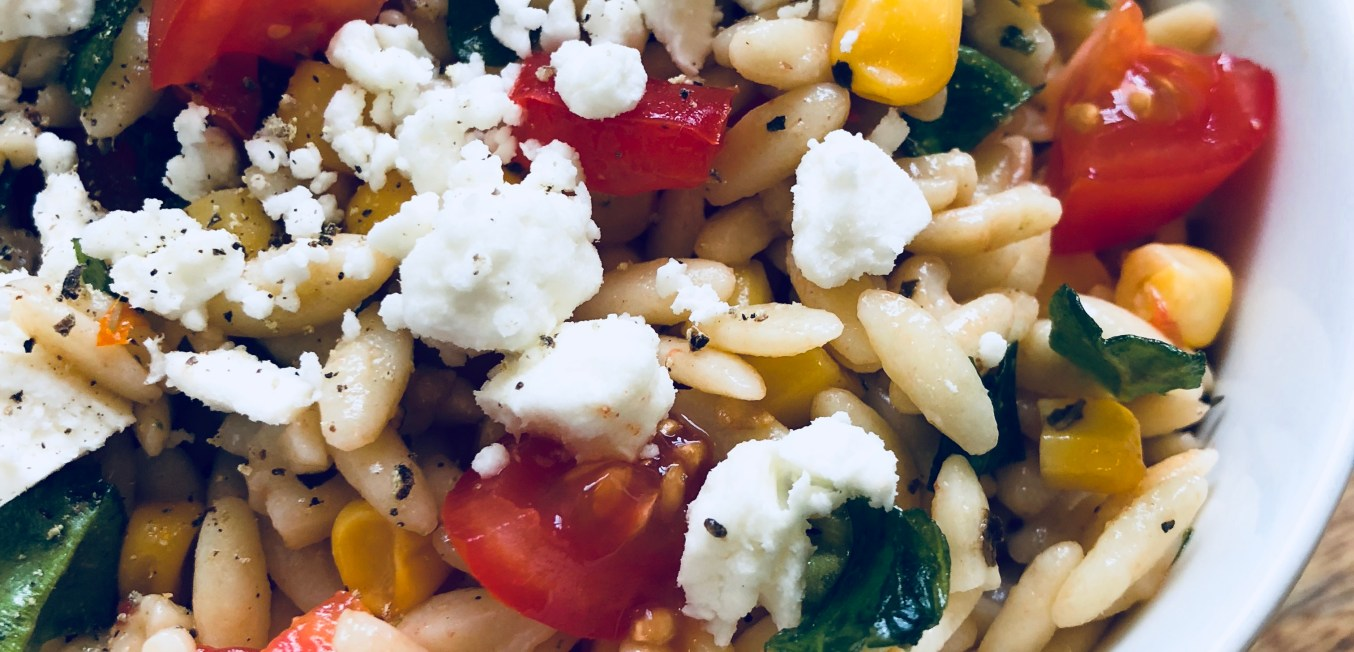 Orzo Pasta Salad Loaded with Vegetables