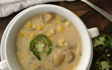 Creamy Corn Chowder with Potatoes and Jalapeno