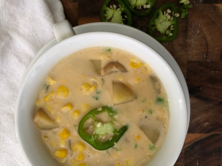 corn chowder with potatoes and jalapeno