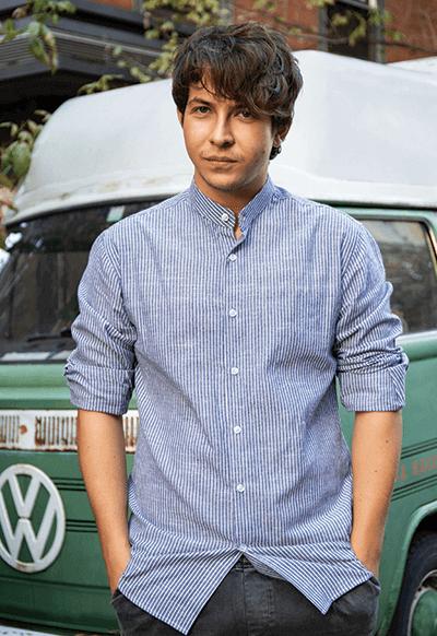 Camicia su misura - Lino Micro Rigato Azzurro, Colletto Lee