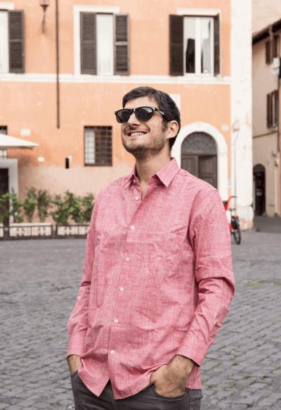 Camicia su misura - Lino Rosso Porpora, Colletto Alain