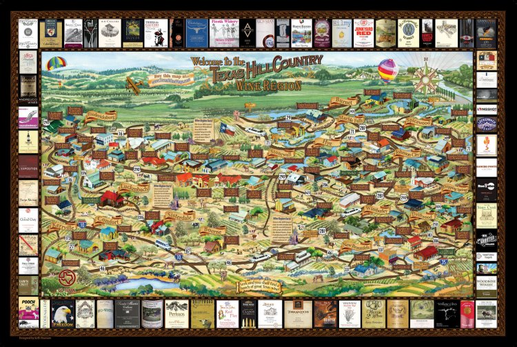 Map of Texas Hill Country Wineries