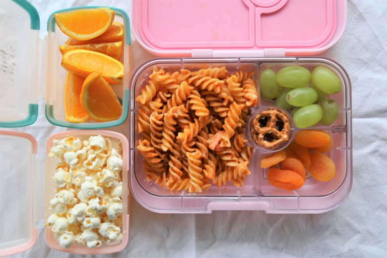 Day 3 Sliced Oranges For Morning Tea Pasta Leftover From Dinner The Night Before Grapes Dried Apricots And A Few Pretzels Lunch Popcorn