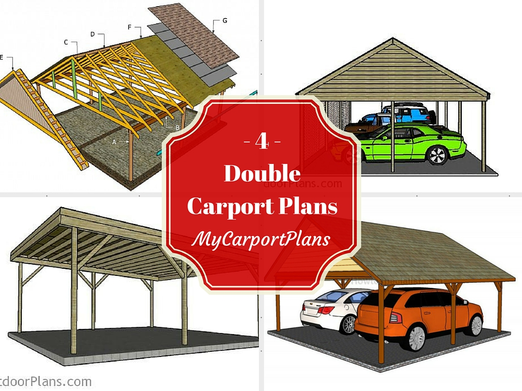 4 free double carport plans for 4 car carport plans