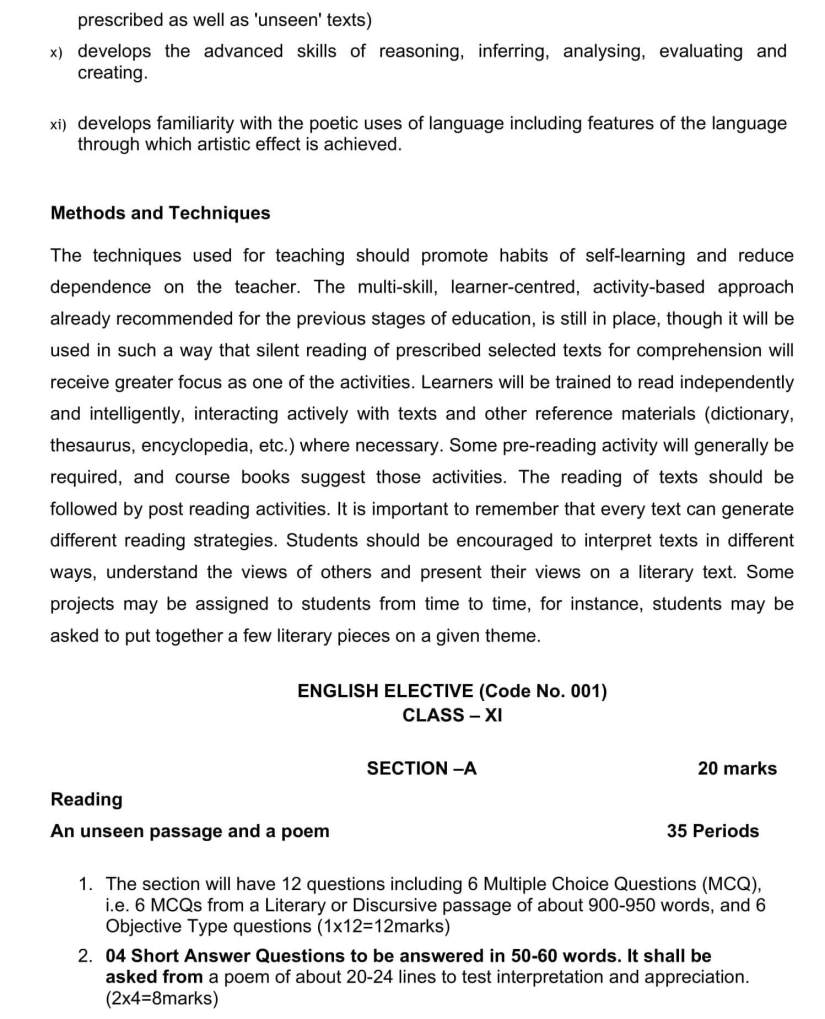 CBSE Syllabus for Class 11 English - 2019-2020 Syllabus PDF