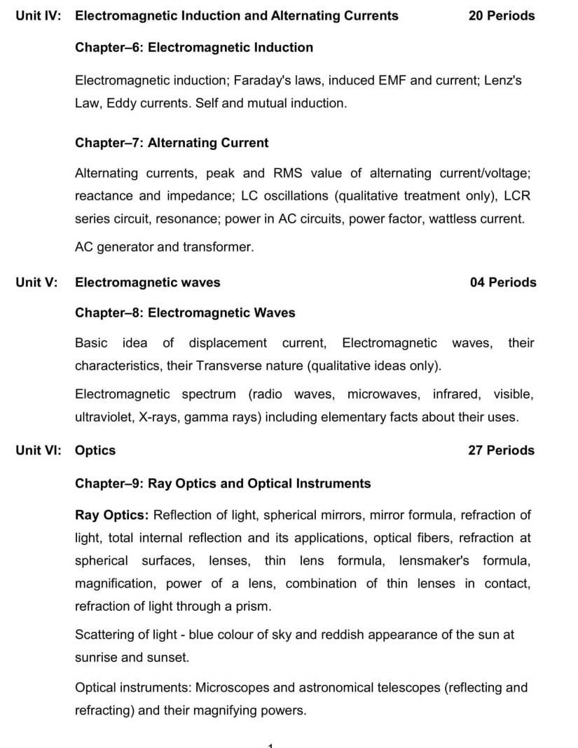 CBSE Syllabus for Class 12 Physics - 2019-2020 Syllabus PDF