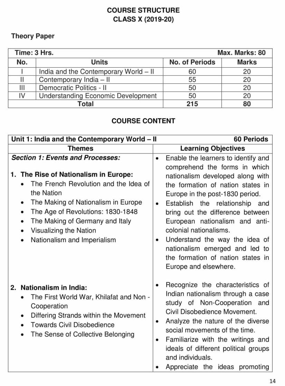 CBSE Syllabus for Class 10 Social Science - 2019-2020 Syllabus PDF