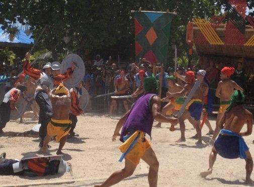 Battle of Mactan reenactment at Liberty Shrine in Barangay Mactan, Lapu-Lapu City.