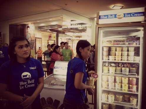 Blue Bell Ice Cream scooping station in Cebu