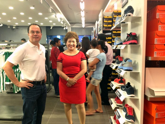 TOURISM DRAW. Lapu-Lapu City Mayor Paz C. Radaza with AboitizLand president and CEO Andoni Aboitiz inside the Nike Factory Store in The Outlets at Pueblo Verde. Radaza said The Outlets will complement the city's tourism push. (Photo by Max Limpag)