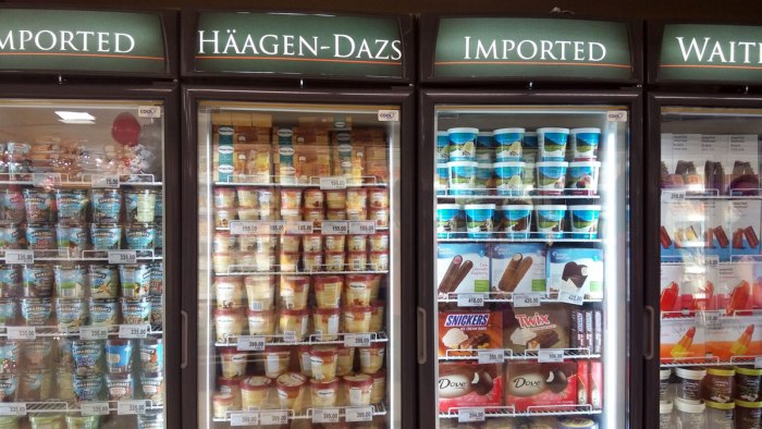 Rows and rows of local and imported ice cream.