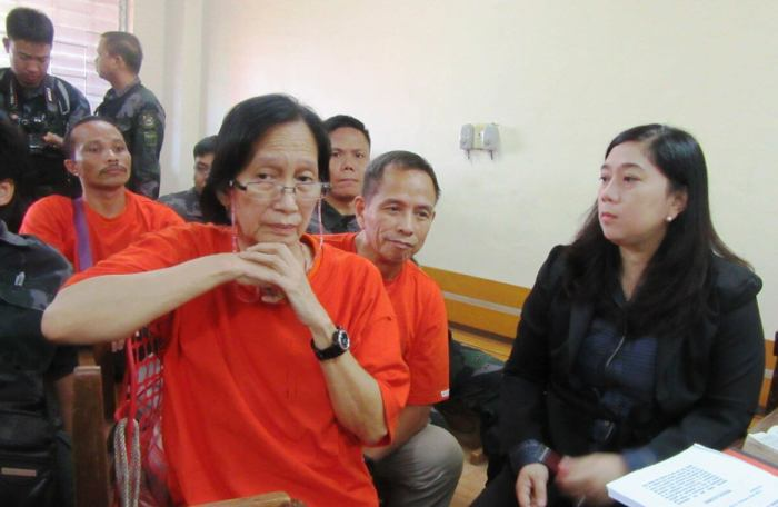 Benito Tiamzon and Wilma Austria-Tiamzon during one a court hearing. The top officials of the Communist Party of the Philippines were arrested in a mountain village in Aloguinsan on March 22, 2014.  (Photo taken from the Facebook Pge Free Benito Tiamzon, Wilma Austria and ALL Political Prisoners)