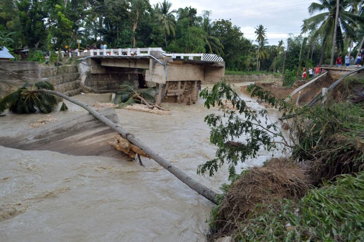 Tropical storm Seniang killed 53 people as it swept across the Visayas and Mindanao from December 29-30 and destroyed the Dumlog Bridge in Sibonga, Cebu. (Photo by Allan Tangcawan)