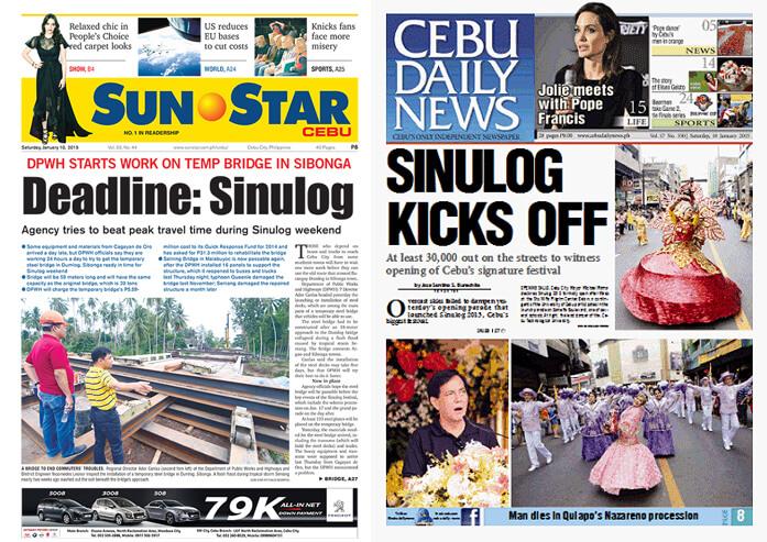 CEBU NEWS. Today's front pages of Sun.Star Cebu and Cebu Daily News.