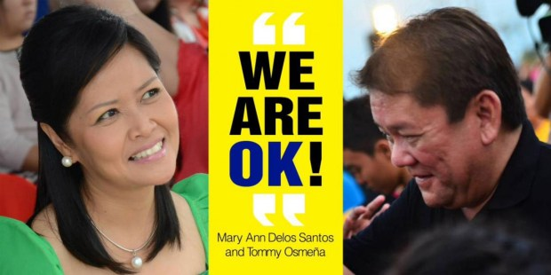 NOW OKAY. Erstwhile political enemies Councilor Mary Ann Delos Santos and former mayor Tomas Osmeña are now allies. The image above adorned the Lahug Barangay Hall.