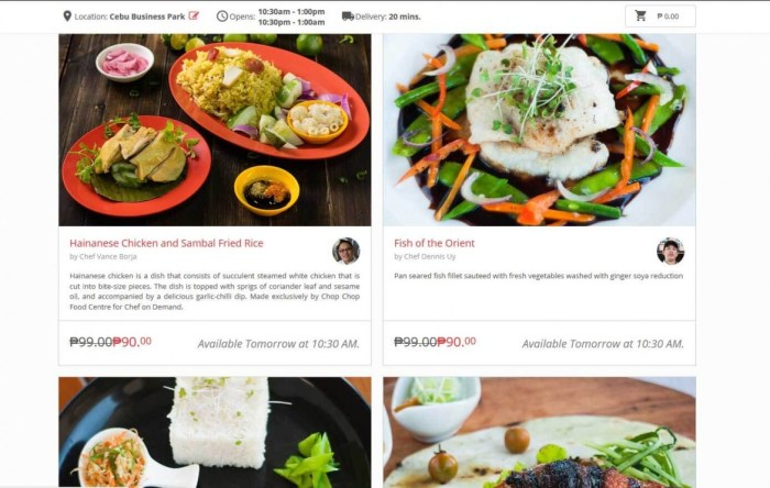MENU. Chef On Demand offers gourmet meals prepared by some of Cebu's top chefs.