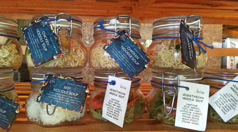 Radisson Blu Cebu Feria buffet noodles in a jar.