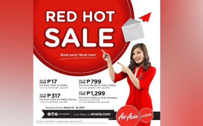 Promo fares for as low as P17 in AirAsia's Red Hot Seat Sale