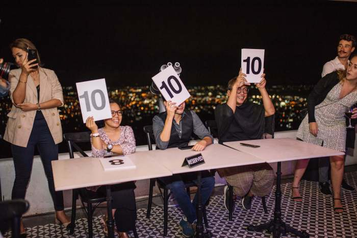 PERFECT SCORE!  Moulin Rouge Realness judges (from left), ClickCebu's Niza Marinas; Van Go, co-founder of the first transman association in the Visayas and Mindanao; Project Runway Philippines alum Mel Maria hand a rare perfect 10 across the board.