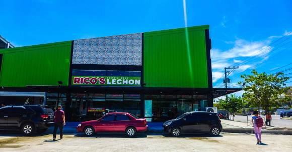 RICO'S LECHON in Mandaue is a 500-square meter branch located at Unit F1 Jamestown, Mantawi International Drive.