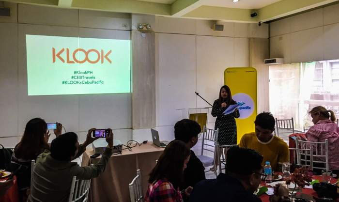PRESSCON . Klook head of partnerships for the Philippines Blessie Cruz opens the press conference to announce the Klook Travel Fest 2019.