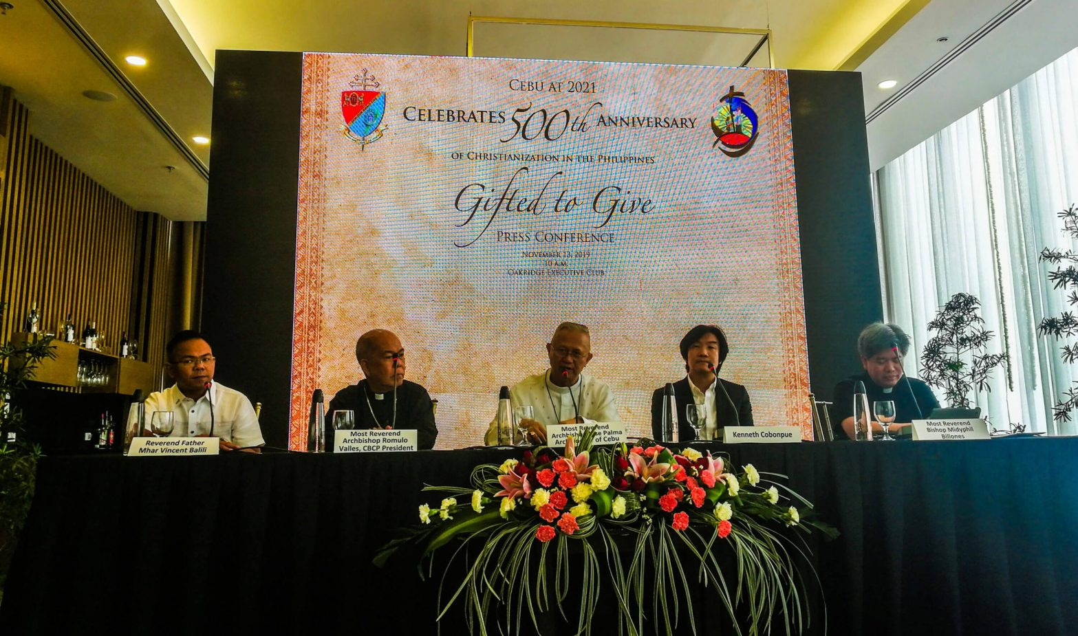 2021 EVENTS. Officials announce the official activities for the 500th anniversary of the Christianization in the Philippines. Present during the press conference in Oakridge Business Park are (from left) Fr. Mhar Vincent Balili; Davao Archbishop Romulo Valles, who is also the CBCP president; Cebu Archbishop Jose Palma, designer Kenneth Cobonpue, who heads the Visayas Quincentennial Committee; and Cebu Auxiliary Bishop Midyphil Billones.
