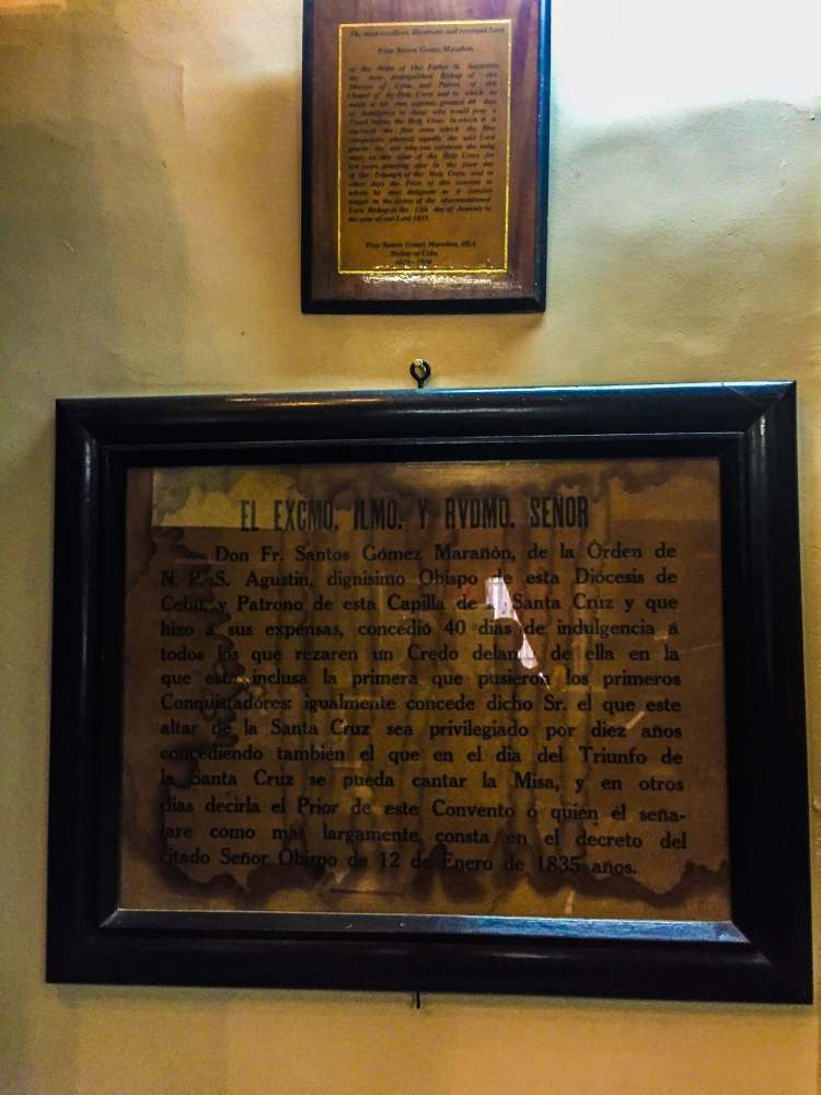 The indulgence for the Magellan's Cross issued by Fray Santos Gomez Marañon.