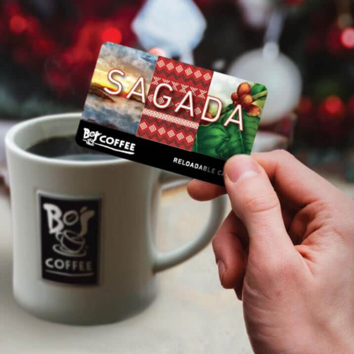 COFFEE CARD. As a way of giving back to its roots, Bo's Coffee incorporates the symbols and elements of Sagada and Philippine coffee to its Coffee Card design. The design includes Sagada's scenery and the weave pattern of the Cordillera Autonomous Region.