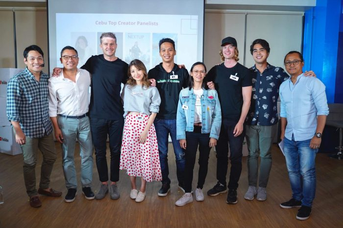 A Partnership for Inclusive Creator Development in the Philippines. (L-R) Jako De Leon of PaperbugTV; Gerard Milan, VP and Head of Prepaid Marketing for Smart; Chris Klapwijk, Creator and Artist Development Manager for YouTube Philippines, Malaysia, & ANZ; Kryz Uy, fashion & lifestyle vlogger; Neil Yamit, Co-founder of Whatoplay; Rea Ninja, 2019 YouTube NextUp finalist and a career and BPO training tips creator; FinnSnow, Icelandic travel vlogger based in Cebu; Enrique Cuunjieng, Strategic Partner Manager, YouTube Creator & Artist Development, Philippines; and Blake Sarion of Beyond Reviews, and President and CEO of Sarion Films.