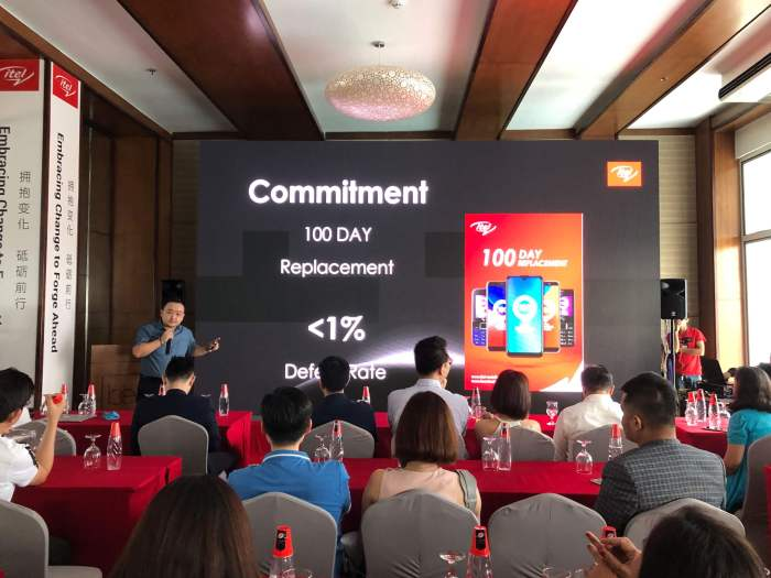 QUALITY INDICATOR. itel Country Manager Lei Zhang says that despite their 100-day replacement program, they record a defective return rate of just less than 1 percent.