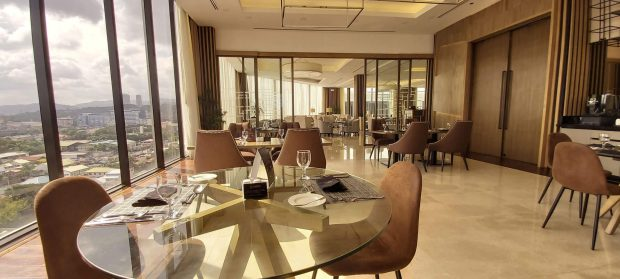 STUNNING VIEW. Oakridge Executive Club is a business lounge that offers a spectacular view of the city.