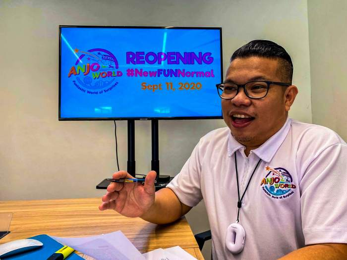Cedric Reyes, Head of Sales, Marketing and Press Relations of Anjo World, presents the health and safety measures being implemented at the park.