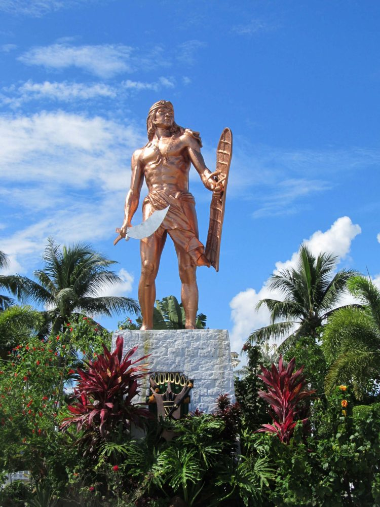 """LIBERTY SHRINE. The statue of chieftain Lapulapu at the Liberty Shrine. Dr. Resil Mojares said research indicates that during the Battle of Mactan, Lapulapu was """"quite old"""" and may have coordinated the battle but not actually fought in it."""