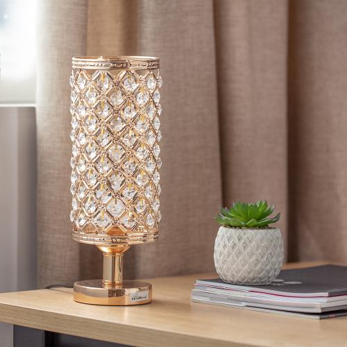 Haitral Crystal Table Lamp Silver Bedside Desk Lamp With Crystals Lamp Shade Metal Base Decorative Room Night Light Lamps For Living Room Bedroom Bedside Table Ideal Gifts My Celltronics
