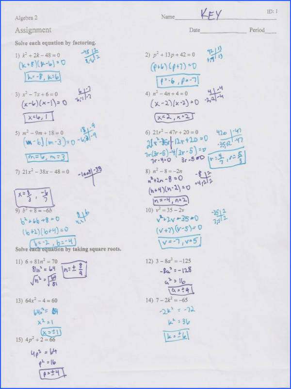 Solving Quadratics By Factoring Worksheet