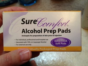 Prep pads for when I gave myself menopur shots on my Stella IUI cycle