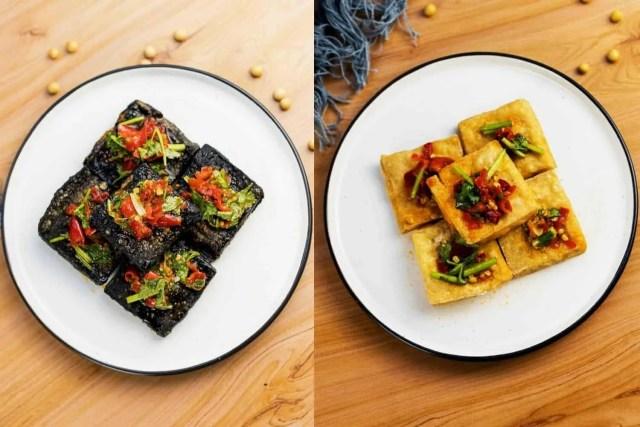 black vs golden brown stinky tofu