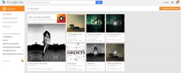 À écouter   Google Play Musique