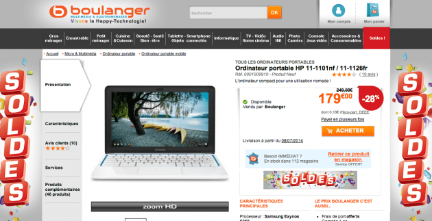 Solde chromebook hp11