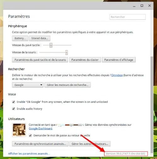 Version logiciel Chrome OS