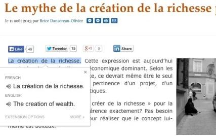 Extension Google translate