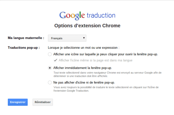 Options google tranlate