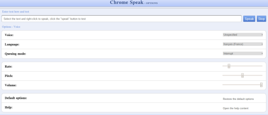 option Chrome Speak