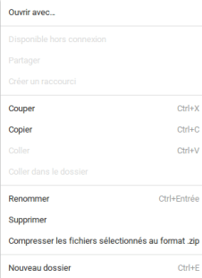 Menu fichiers compression