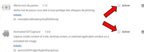 Activer ou désactiver une extension Chrome