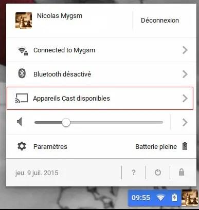 Cast Chrome OS et chrpomebook